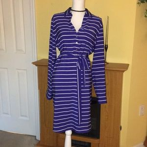 Blue with white stripe tshirt style dress